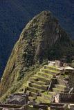Machu Picchu in Peru. The Temple of the Sun at the Inca city of Machu Picchu in Peru stock images
