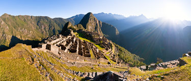 Machu Picchu (Peru). Famous view over the ancient sacred city of the Inca's Royalty Free Stock Photography