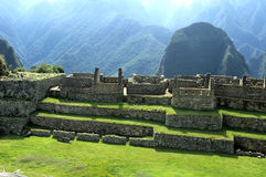 Machu Picchu- Peru. Buildings of the Residential Sector as seen from the Principal Temple at the Incan ruins of Machu Picchu (Sacred Valley), Peru Stock Photos