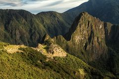 Machu Picchu, Peru. The ancient Inca city, located on Peru at the mountain, New Wonder of the World. Machu Picchu, Peru. The ancient Inca city, located on Peru royalty free stock images