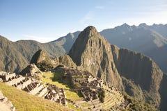 Machu Picchu, Peru. Classic view of the Inca citadel of Machu Picchu stock photos