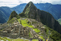 Machu Picchu, Peru. Classic View of Machu Picchu, Peru. People visiting UNESCO ancient ruins Stock Photography