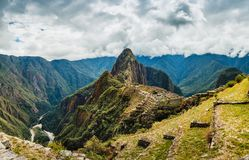 Machu Picchu, Peru, Inca. Machu Picchu is s a 15th-century Inca citadel situated on a mountain ridge 2,430 metres 7,970 ft above sea level. It is located in the Stock Photo
