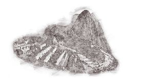 Machu Picchu in Peru - lost city of Incan Empire is UNESCO herit. Age. Vintage engraved illustration, hand drawn, sketch isolated on white Royalty Free Stock Photo
