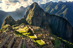 MACHU PICCHU, PERU - MAY 31, 2015: View of the ancient Inca City. Of Machu Picchu. The 15-th century Inca site.`Lost city of the Incas`. Ruins of the Machu royalty free stock photography