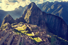 MACHU PICCHU, PERU - MAY 31, 2015: View of the ancient Inca City. Of Machu Picchu. The 15-th century Inca site.`Lost city of the Incas`. Ruins of the Machu Royalty Free Stock Photos
