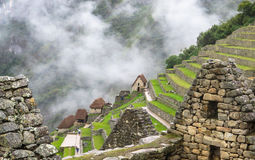 Machu Picchu in Peru. This photo is taken in Machu Pichu Heritage in Peru. Machu Picchu stands 2,430 m above sea-level, in the middle of a tropical mountain Stock Images