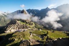 Machu Picchu Peru with clouds. View of the city of Machu Picchu Peru royalty free stock image