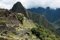 Machu Picchu Peru, agricultural terraces. View of the city of Machu Picchu Peru, ancient tourist area in Peru royalty free stock photography