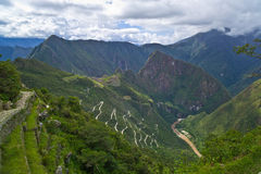 Machu Picchu, Peru: View from Inca Trail. View from Inca Trail with Urubamba River, Leica M9 Stock Photos