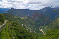 Machu Picchu, Peru: Vista da fuga do Inca fotos de stock