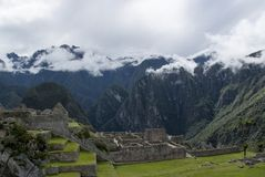 Machu Picchu, a Peruvian Historical Sanctuary in 1981 and a UNESCO World Heritage Site in 1983. One of the New Seven Wonders of the World royalty free stock photo