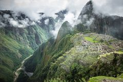 Machu Picchu, a Peruvian Historical Sanctuary in 1981 and a UNESCO World Heritage Site in 1983. One of the New Seven Wonders of t. He World royalty free stock photo