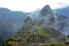 Machu Picchu Ruins. This image was shot from the hut of the caretaker in the Machu Picchu compound Royalty Free Stock Images