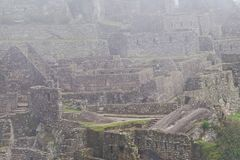 Machu Picchu Ruins in Morning Mist Royalty Free Stock Photography