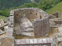 Machu Picchu ruins, the Temple of the Sun Royalty Free Stock Image