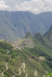 Machu Picchu ruins. View of the lost city of Machu Picchu and Sacred Valley, Peru Royalty Free Stock Image