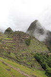 Machu Picchu's terraces and town Stock Image
