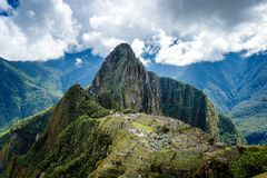 Machu Picchu, Peru, Inca. Machu Picchu is s a 15th-century Inca citadel situated on a mountain ridge 2,430 metres 7,970 ft above sea level. It is located in the Stock Image