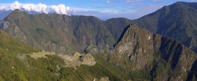 Machu Picchu from sungate Inti Punku. Machu Picchu, Wayna Picchu and surrounding mountains panorama as seen from Inti Punku, the Sungate royalty free stock image