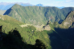 Machu Picchu. Sunrise seen from the sun gate at Machu Picchu in the Andes Stock Photos