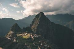 Machu Picchu tarasy moczą widok od above Urubamba dolina below Peru podróży miejsce przeznaczenia, turystyki sławny miejsce Fotografia Royalty Free