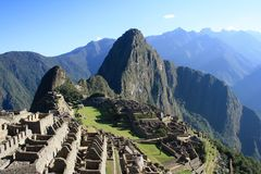 Machu Picchu Temple ruins in Peru Stock Photos