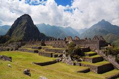 Machu Picchu Three Doorway group. Three Doorway group of ruins width Wayna Picchu in background, Machu Picchu stock image