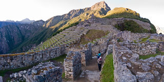 Machu picchu view directed to the inca trail Royalty Free Stock Image