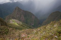 Machu Picchu viewed from nearby mountain. High above Machu Picchu ruins on Machu Picchu Montana Royalty Free Stock Photo