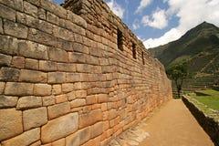 Machu Picchu Wall. The Artisan's Wall at the Incan ruins of Machu Picchu in Peru stock photo