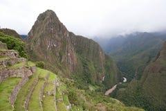 Machu Picchu and Wayna Picchu. Landscape view of valley and Wayna Picchu at Machu Picchu stock photography