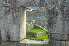 Machu Picchu Window stock image