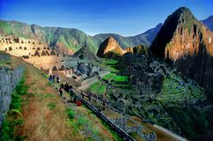 Machu Picchu from Peru (overview). A sweeping view of the ruins of Machu Picchu, Peru, including the surrounding mountains Stock Photos