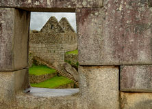 Machu Pichu Window. Through Stone royalty free stock image