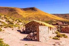 Atacama desert, Chile. MACHUCA EL TATIO, CHILE - NOV 3, 2014: Houses in the Machuca el Tatio, a town in the Atacama desert whice covers 105,000 square kilometres stock images