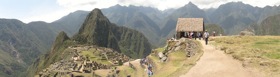 Machupicchu panoramisch Lizenzfreies Stockbild