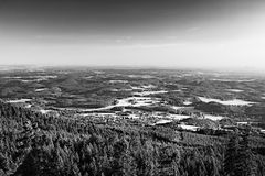 Machuv kraj tourist area with Bezdez hill on horizont when viewed from hill Jested near Liberec city at summer sunset Stock Image