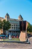 Macia Monument in Plaza Cataluna Stock Images
