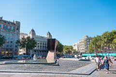 Macia Monument in Plaza Cataluna Barcelona Stock Photos