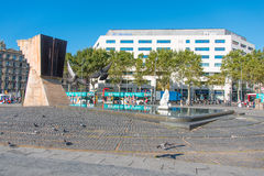 Macia Monument in Plaza Cataluna and pigeons Royalty Free Stock Image