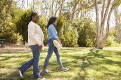 Macierzysta I Dorosła córka Iść Dla pinkinu W parku Wpólnie Fotografia Royalty Free