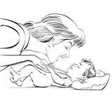 Macierzysta i nowonarodzona dziecko miłość obrazy stock