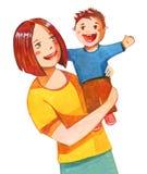 Macierzysta mienie chłopiec na jej rękach, oba ono uśmiecha się Stylizowana ręka rysująca akwareli ilustracja ilustracji