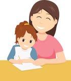 Macierzysta nauczanie córka pisać ilustracji