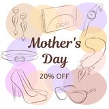 Macierzystego dnia sprzedaży pojęcie Wręcza rysunkowych żeńskich akcesoria, buty, sprzęgło, szkła, kolia, kolczyki, patka, zegare ilustracja wektor