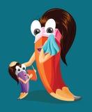 Macierzysty błogosławieństwo jej córka Śmieszny ołówkowy charakter Zdjęcia Stock
