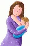 Macierzysty breastfeeding jej nowonarodzonego dziecka ilustracja wektor