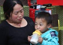 macierzysty Chińczyka syn Zdjęcie Stock