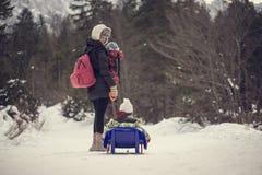 Macierzysty ciągnięcie jej dziecko przez zima śniegu na saneczki zdjęcia royalty free